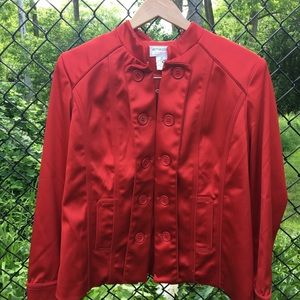 Victor Costa Red Silk Coat Sz Medium with Buttons